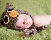 Brown Owl Hat Newborn Photo Prop Baby Boy Girl Unisex Crochet Beanie Soft Textured