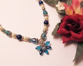 Peacock Blue Crystal Pendant Necklace with Agate and Pearls - SALE