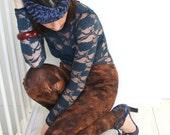 Tie dye leggings in brown with black ornamental print, women's leggings