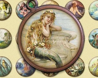 Vintage Victorian Mermaids, Sirens, Sea Nymphs - 30mm Circles - Digital Collage Sheet - Instant Download and Print