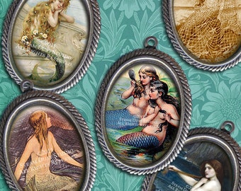 Victorian & Vintage Mermaids - 18x25mm Cameo Size Oval Images - Digital Collage Sheet - Instant Download and Print