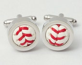 Set of 6 Authentic Baseball Cufflinks in Silver
