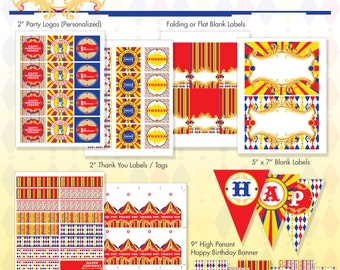 Vintage Carnival Circus Printable Birthday Party Package - Primary Colors - DIY Print