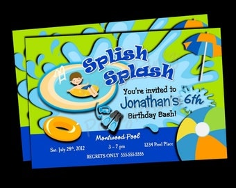Printable Swimming - Pool Party Invitations -  Personalized - Custom - Birthday