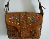 RESERVED for Beckie...Fab Vintage 1970's Amazing Painted Floral Tooled Leather Handbag Shoulder Bag Hippie Mexico