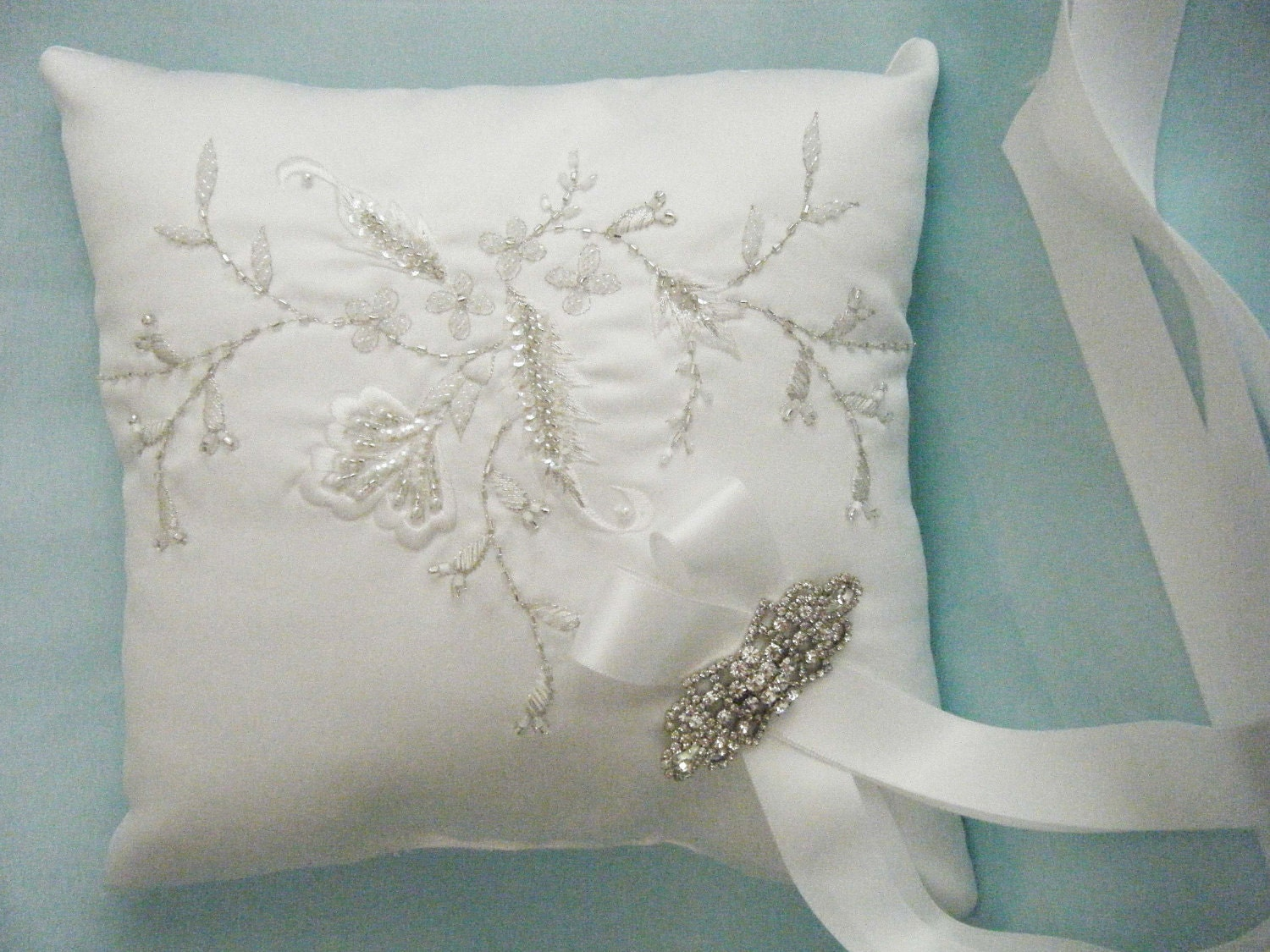 Couture white ring bearer pillow embroidered beaded wedding