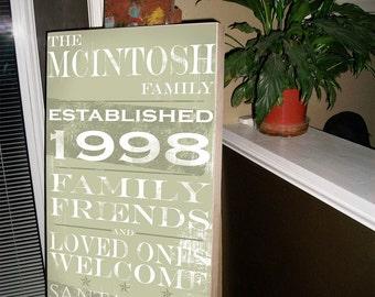 Subway Sign,  Personalized Sign,Subway Art, Wedding Gift, Anniversary Gift,  Housewarming Gift, Birch Hardwood, Typography Wall Decor