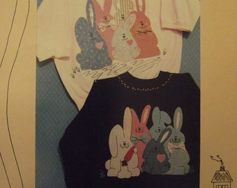 """Craft Pattern, Rabbit Applique Pattern, """"Bunny Love,"""" No Sewing Project, Or Use for Sewing Project, Uncut, Down Memory Lane, Easter Bunny"""