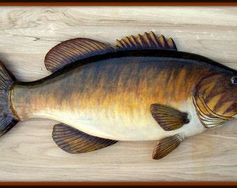 SMALLMOUTH BASS 24 inch fish wood carving, folk art fish, cabin lodge decor, wall mount