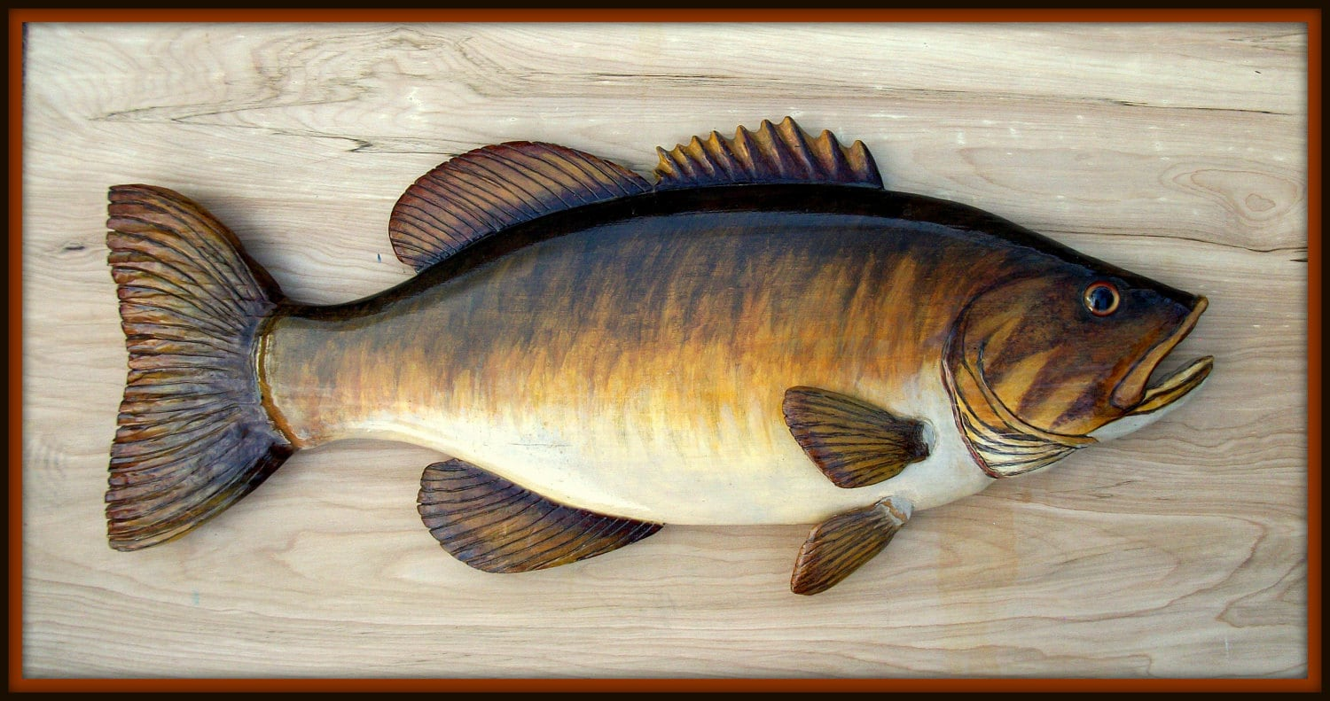smallmouth bass 24 inch fish wood carving folk art fish