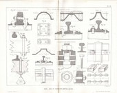 Metal Brackets of Railroad Lanes, 1872 French Antique Technical Drawing