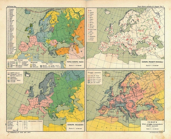 1909 Europe Map, Population, Religions, Mineral Products, Climate