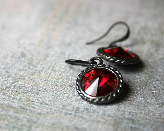 REDUCED: Gothic Blood Red Swarovski drops