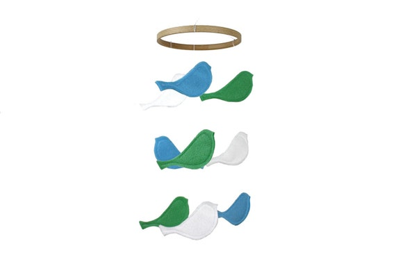 Bird Baby Crib Mobile - Baby Blue Mint White