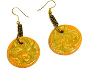 Tangerine Orange  Hand painted wooden earrings. Tribal inspired orange jewelry