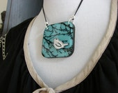 The Bird and the Tree Branches and the Blue Sky - Handmade painted whimsical pendant necklace