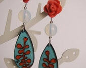 Little Berry Branches in Coral and Blue - Handmade three dimensional painted whimsical earrings