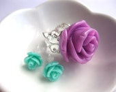 Summer Flower Cabochon Jewelry Set-Icing Rose Filigree Cocktail Ring & Sweet Rosette Pierced or ClipOn Earrings-Custom Colors-Pastel Fashion