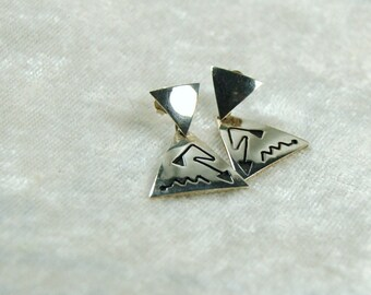 Vintage Southwestern Sterling Silver  Earrings - 925 - Pierced Earrings - Lightning Bolt & Snake