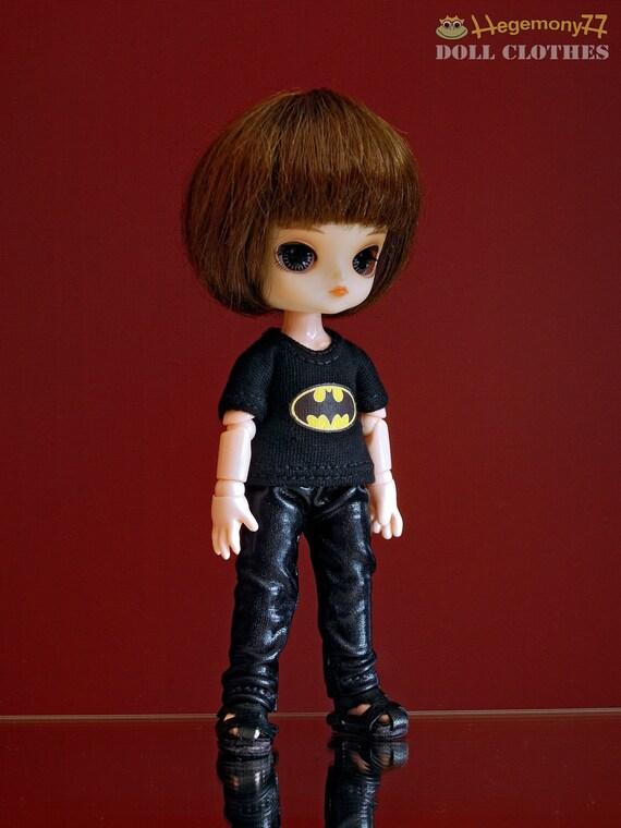 Batman T shirt for: 11 cm Obitsu size dolls