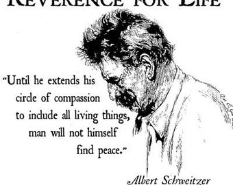 Albert Schweitzer Quote T Shirt compassion to include all living things, man will not himself find peace.  Free US Shipping