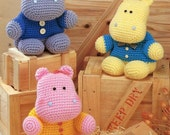 ENGLISH  Amigurumi Big Hippo Plush Crochet Pattern PDF