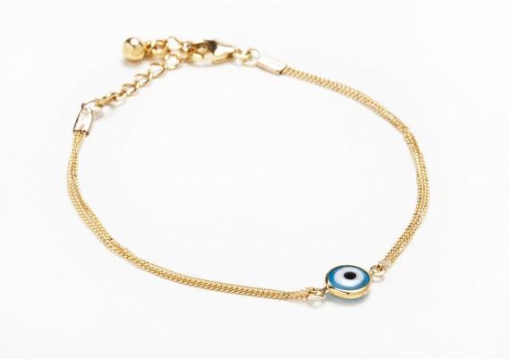 Evil eye bracelet, Gold Evil Eye bracelet, Protection Bracelet, layered bracelet,  gold  chain, Evil Eye Jewelry, free shipping