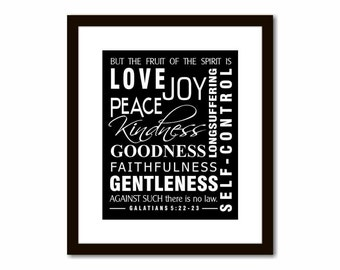 Fruit of the Spirit, Love Joy Peace, Christian Wall Art, Confirmation Gift, Graduation Gift, Gift for Pastor, Galatians 5