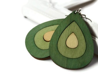 Wood Earrings in Shades of Green. Big Drop Earrings in Green and Beige with Nickel Free Fish Hooks.