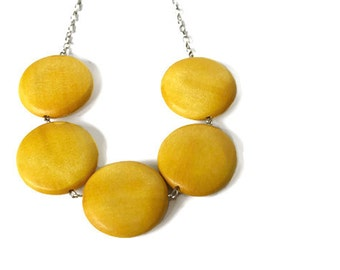 Mustard Yellow Geometric Chunky Bead Necklace with Big Round Wood Beads.