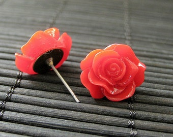 Red Rose Flower Earrings with Bronze Post Earrings. Flower Jewelry by StumblingOnSainthood. Handmade Jewelry.