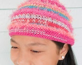 "hot pink striped pixie hat with coordinating synthetic ""fur"""