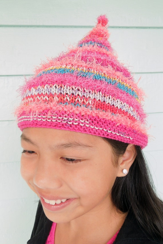 """hot pink striped pixie hat with coordinating synthetic """"fur"""""""