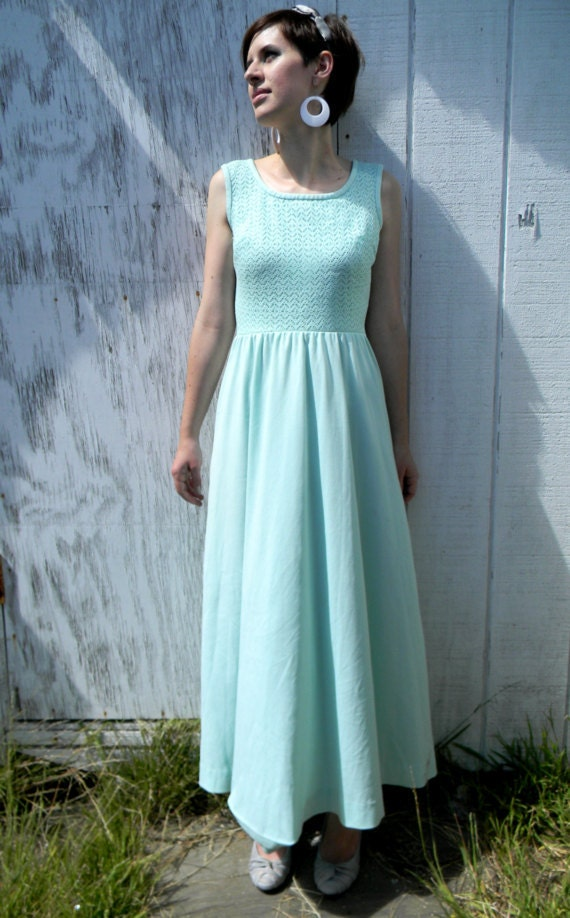 Vintage Mint Green 1960's Maxi Dress