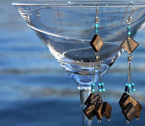 Computer Earrings. Eco Friendly Recycled Computer Parts, Wearable Tech, Technlogy Chandelier Earrings. Gray Shell Squares. Blue RESISTORS