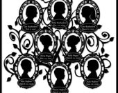 Mother's Day Custom Family Tree with 8 Silhouettes