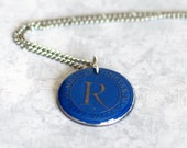 Initial R Necklace, Gold Letter R Upcycled Blue Wine Foil Stainless Steel Washer Necklace, Rombauer