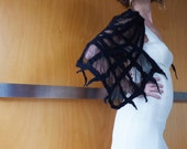 Black wrap / shawl, evening wear, bridal wear, formal wear, burlesque couture