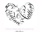 Hand Lettered Calligraphy Heart Monogram - Custom Wedding Crest - Unique Invitation Design - Heart Shaped