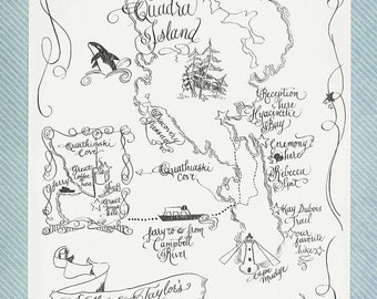 Custom Hand Lettered & Illustrated Art Map |  Q u a d r a   I s l a n d