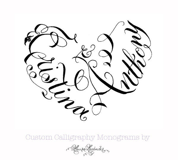 Hand Lettered Calligraphy Heart Monogram By