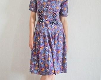 SWINGIN' SPRING SALE/  Vintage floral corset dress size S