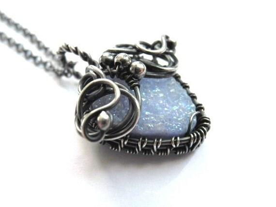 Wire wrapped Silver necklace, pastel blue, baby blue, Quartz druzy, romantic, gentle, heart shaped