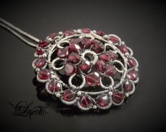 Garnet victorian pendant - sterling silver - large