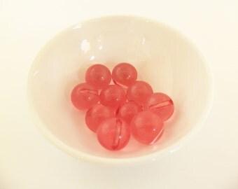 16 Vintage 14mm Translucent Pink Lemonade Side-Drilled Lucite Button Beads Luc179