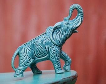 Elephant Planter Teal Turquoise Vase 1950s