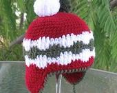 Crochet Pattern 006 - Hat Crochet Pattern - Crochet Hat Pattern for Pom-Pom Ear-flap Hat  Baby Toddler Children Teens Adult Winter Christmas