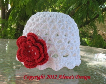 Crochet Pattern 015 - Crochet Hat Pattern - Hat Crochet Pattern for Lace  Beanie Hat  with Rose Baby Child Adult Lace Hat Easter Summer Hat