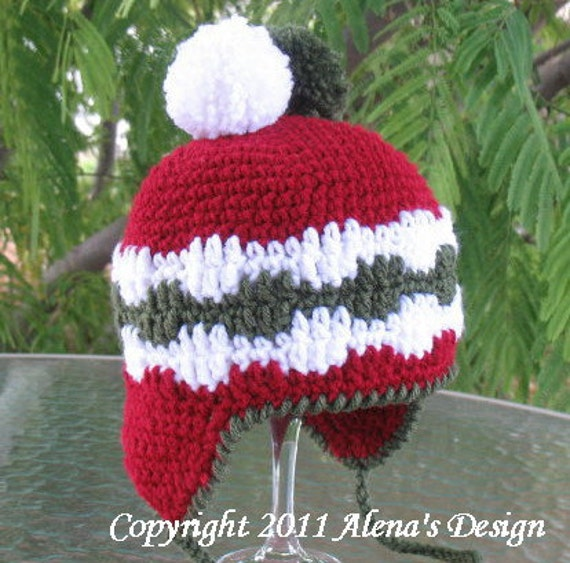 Crochet Pattern 006 - Hat Crochet Pattern - Crochet Hat Pattern for Pom-Pom Ear-flap Hat  Baby Toddler Children Teens Adult Winter Christmas