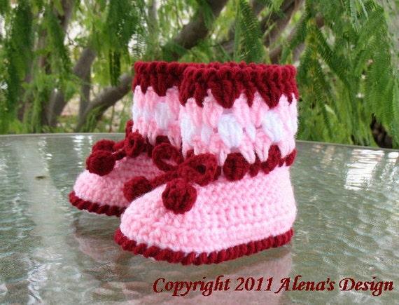 Crochet Pattern 024 - Cherries Toddler Booties - Toddler - Boy - Girl - Child - Winter Booties - Pink Boots - Slippers